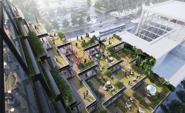 Het nieuwe hoofd-kantoor van Suitsupply op de Zuidas, ontwerp: BIG. Beeld -