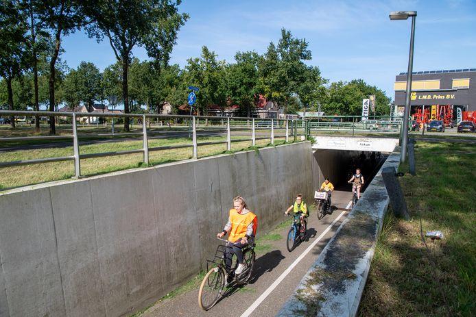De fietstunnel onder de Hessenweg bij de Sjaloomschool (links op de achtergrond). De school wil graag een verkeersveiliger verbinding, door de weg bij de tunnel zo aan te passen dat de fietsende leerlingen rechtstreeks het schoolplein kunnen op fietsen.