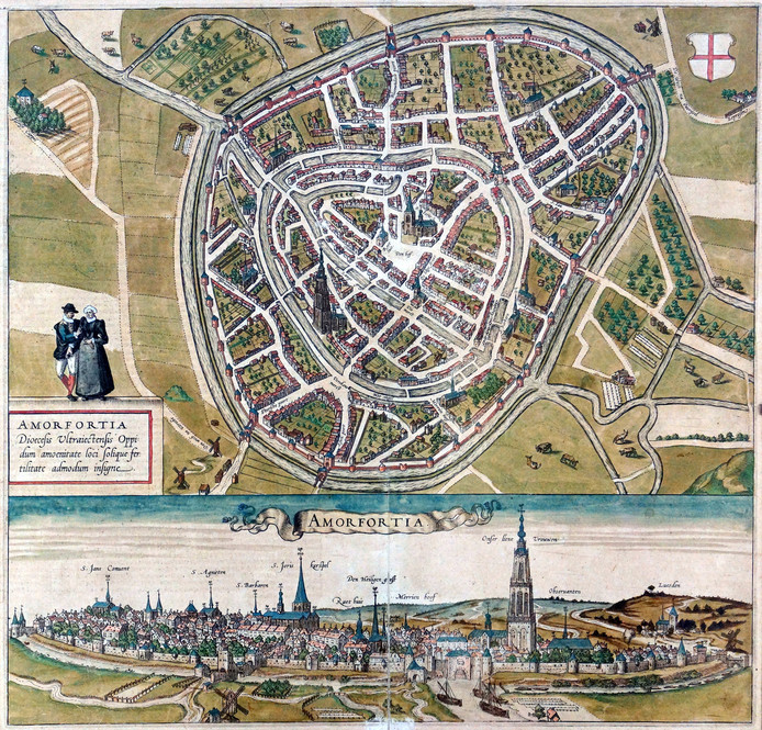 Kaart van Amersfoort rond 1700, toen nog een kleine stad van nauwelijks 10.000 inwoners.