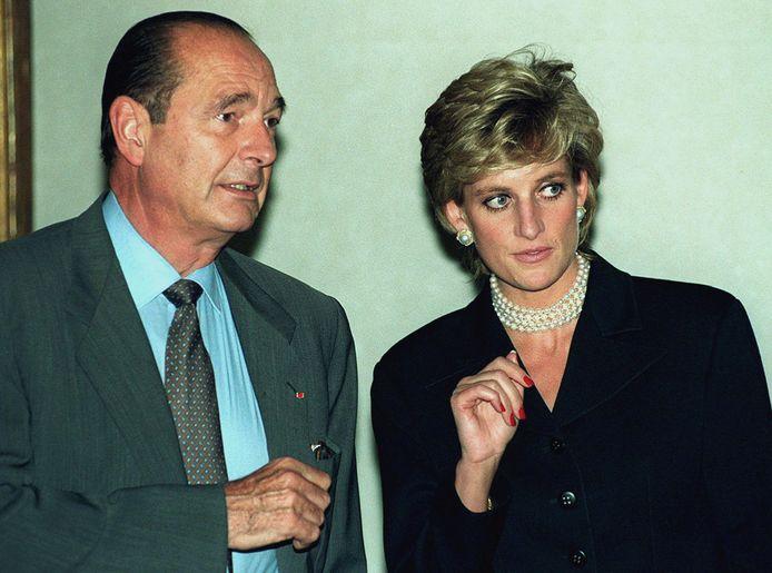 Jacques Chirac met prinses Diana in 1995.