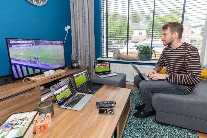 Verslaggever Tim Hartman vult zijn zaterdagmiddag met het kijken naar livestreams van amateurvoetbalwedstrijden.