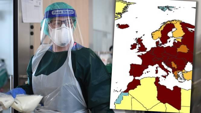 Nog maar vier landen in Europa niet rood gekleurd: België blijft op kop en we lopen steeds verder uit