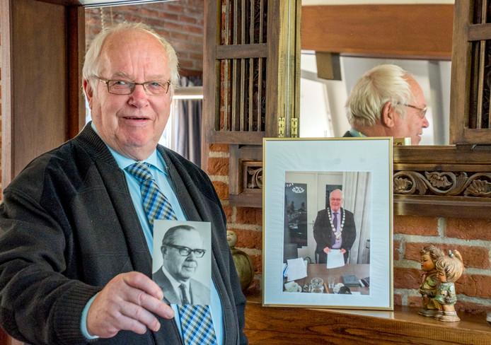 Ruud van de Ven met een foto van zijn vader, die burgemeester van Haaren is geweest.