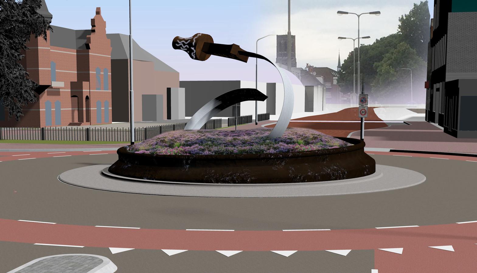 Schetsontwerp van de nieuwe rotonde voor Museum Jan Cunen in de Osse Molenstraat.