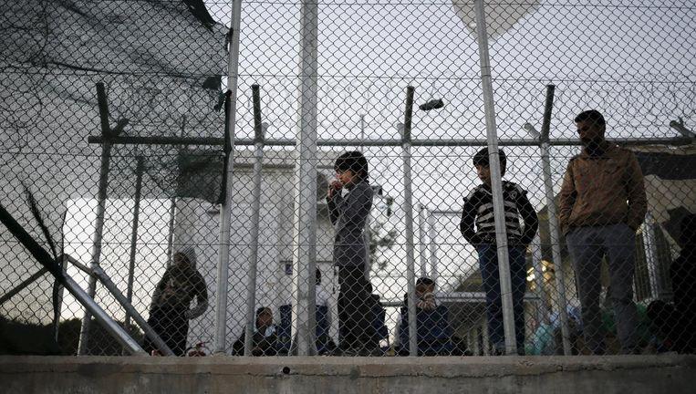 Vluchtelingen in een kamp op Lesbos