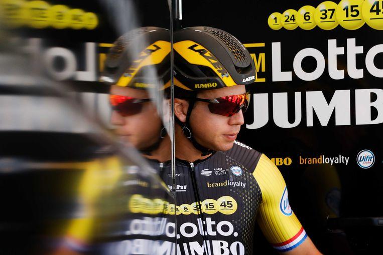 Dylan Groenewegen voor aanvang van de eerste etappe van de 105e editie van de Ronde van Frankrijk tussen Noirmoutier en Fontenay-le-Comte Beeld ANP