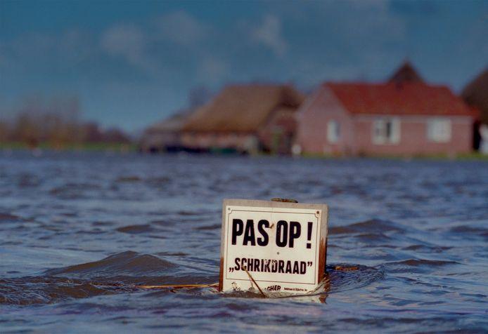 Hoogwater bij Zalk, gemeente Kampen, januari 1995.
