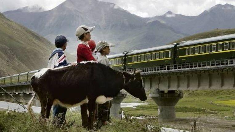 Tibetaanse kinderen bekijken de trein die vanuit hun hoofdstad Lhasa vertrekt over de hoogstgelegen spoorlijn ter wereld. (FOTO AP) Beeld