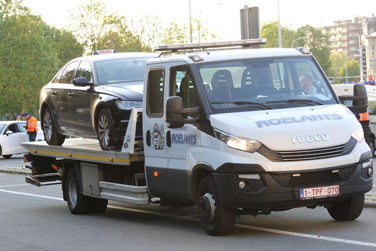 Deze taxi werd getakeld omdat het bedrijf een hele reeks onbetaalde boetes had verzameld.