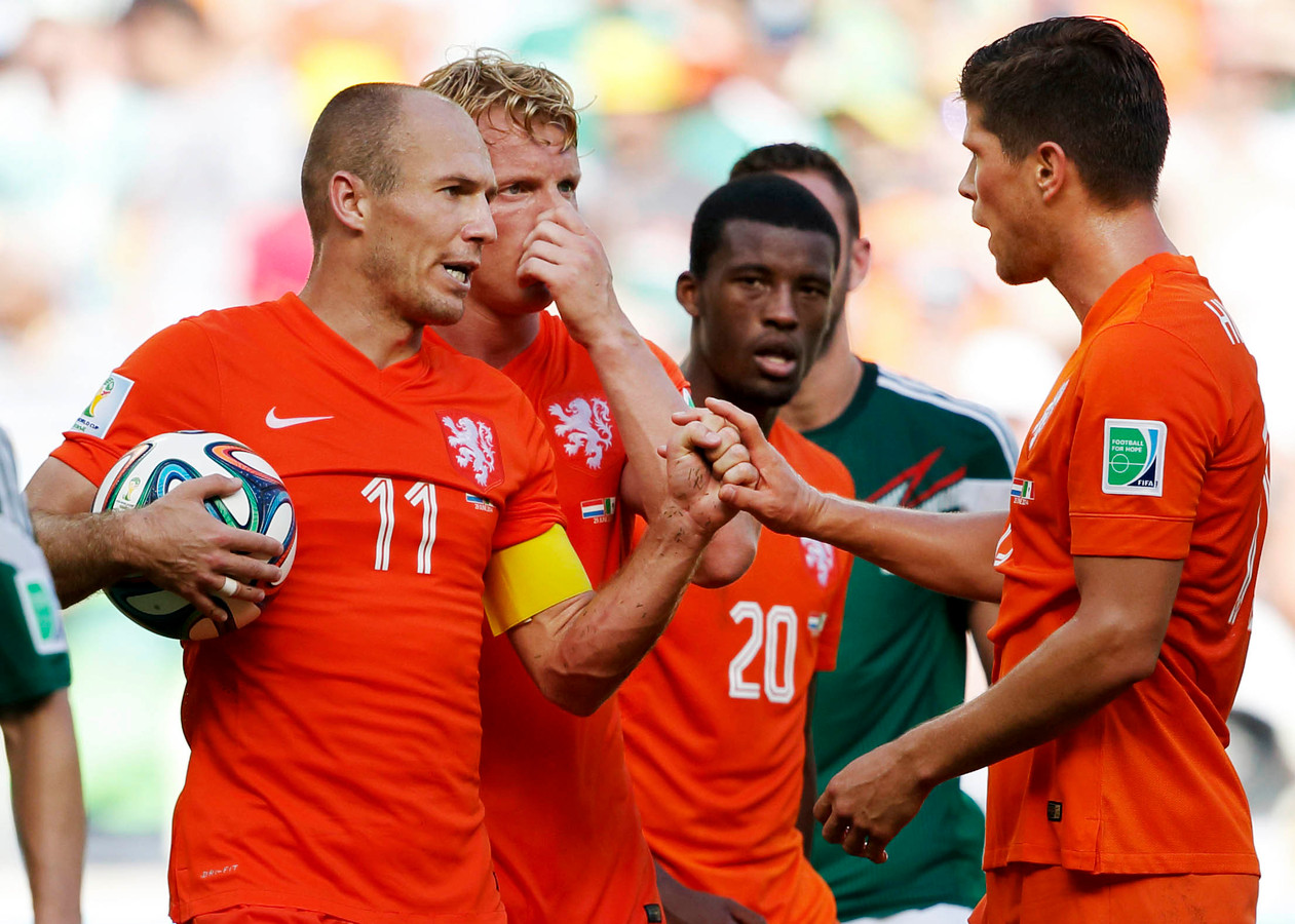 Nederland tijdens het WK 2014, inclusief witte leeuw op de borst.