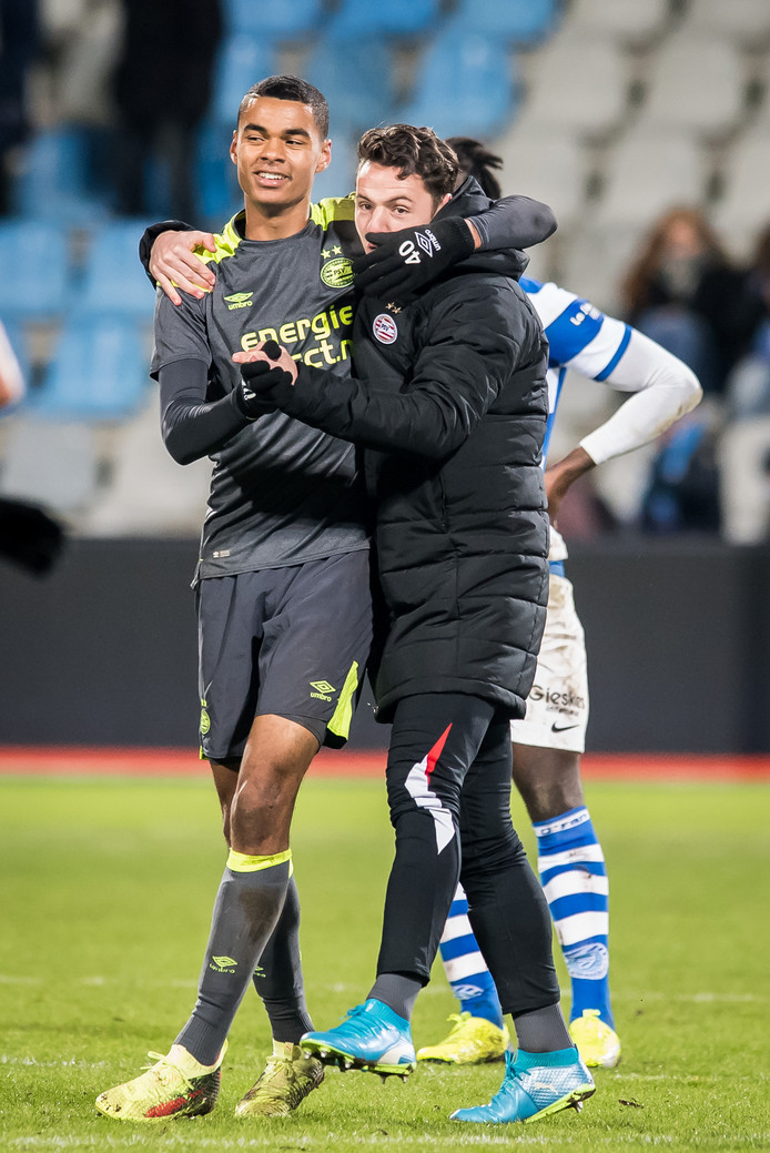 DOETINCHEM, De Vijverberg, 19-01-2018, Voetbal, Jupiler League, Seizoen 2017 / 2018. De Graafschap - Jong PSV. Vreugde bij Jong PSV speler Cody Gakpo na afloop. Einstand 2-3.
