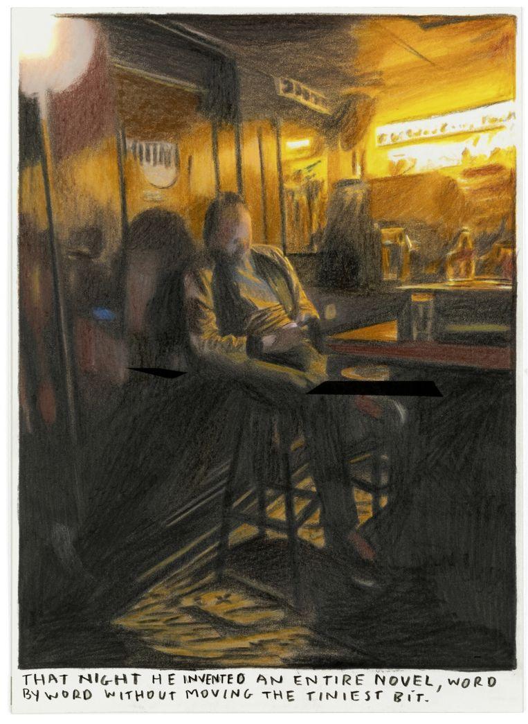 Tom Van Laere: 'Laatst gingen Rinus en ik op café. In plaats van een gesprek te voeren, schreef ik een kortverhaal op mijn smartphone. En Rinus maakte daar een tekening van.' Beeld