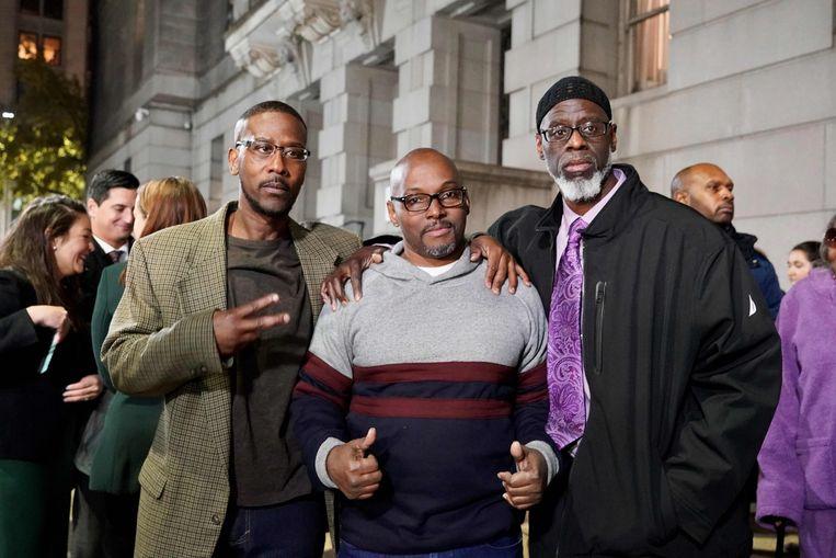 Alfred Chestnut, Andrew Stewart en Ransom Watkins konden maandag na 36 jaar de gevangenis verlaten. Beeld AFP