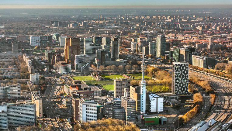 De Zuidas in Amsterdam vanuit de lucht. Beeld anp