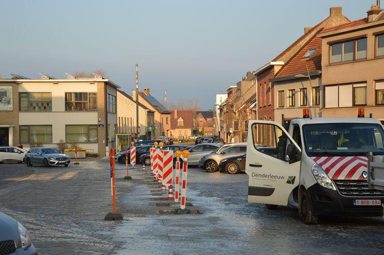 De werken zijn momenteel bezig op het Welleplein.