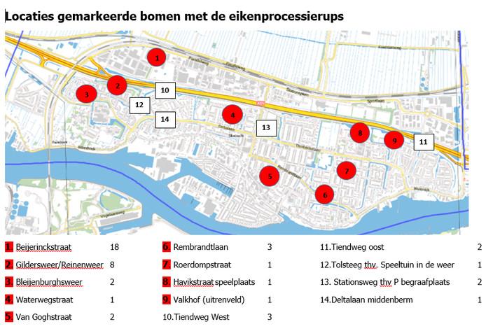 De gemeente Sliedrecht heeft de locaties van de met eikenprocessierupsen besmette bomen in kaart gebracht.