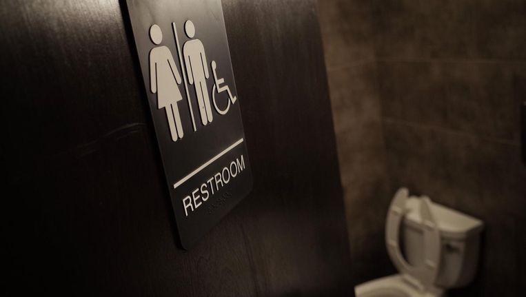 Een genderneutrale wc in Washington. Beeld AFP