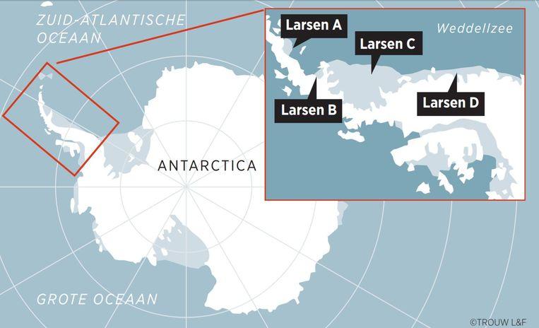 Locatie van ijsplaten Larsen A, B, C en D op Antartica Beeld @Trouw