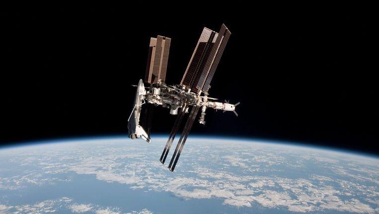 Het International Space Station, op dit moment het onderkomen van onder anderen de Nederlandse astronaut André Kuipers. Beeld epa