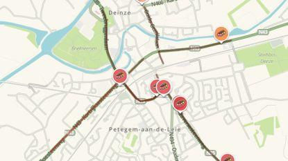 Verkeer in Deinze in de knoop door ongeval en werken op Volhardingslaan