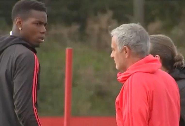 Pogba en Mourinho vanochtend op training.