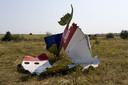 Restanten van de Malaysia Airlines Boeing in het rampgebied, drie weken na de crash van vlucht MH17.