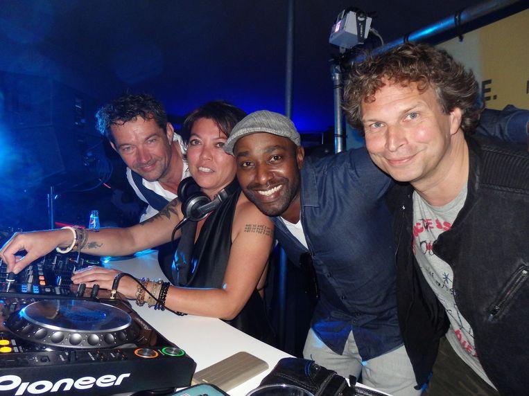 De dj's: Very Ferry, Jesse Jane, Ike Sofunky en Ronald Molendijk (vlnr). Beeld Schuim