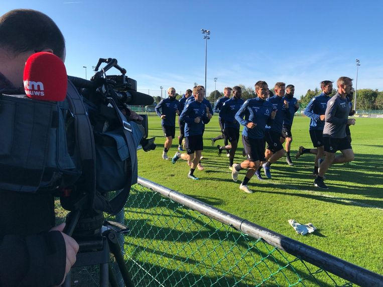 De spelers van Club Brugge tijdens hun ochtendtraining.