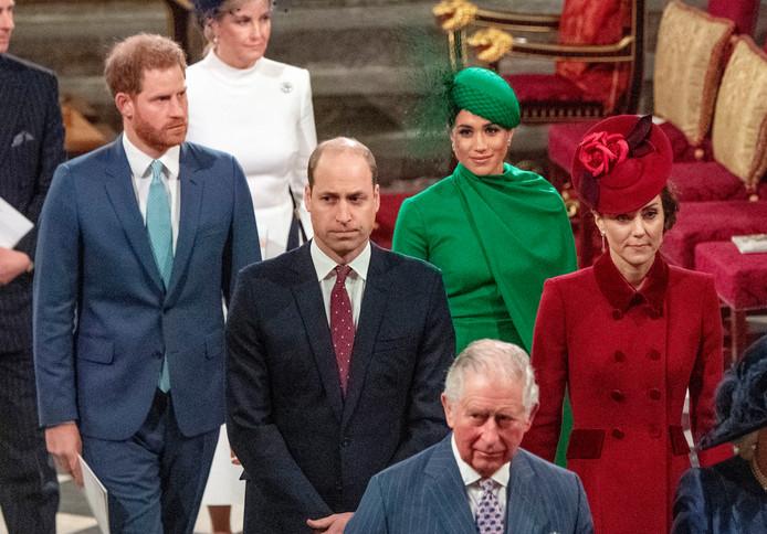 Harry, Meghan, William, Kate et le prince Charles, à l'abbaye de Westminster, le 9 mars 2020.
