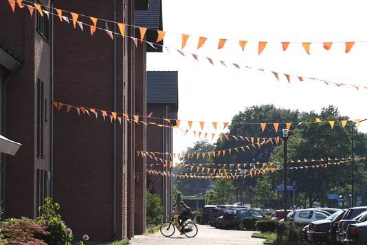 De Cuijlenburg in Boxmeer, een van de straten in de regio die wél is versierd met oranje vlaggetjes. Hier woont de vader van Oranje-speelster Kika van Es.