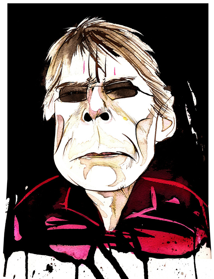 Stephen King - Amerrican horror writer, born 1947. Caricatured as a skeleton.