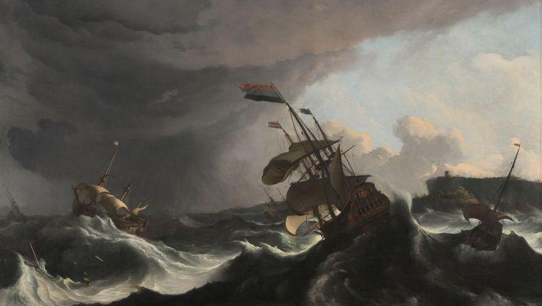 Oorlogsschepen tijdens een storm, Ludolf Bakhuysen, ca. 1695 Beeld Beeldbank Rijksmuseum