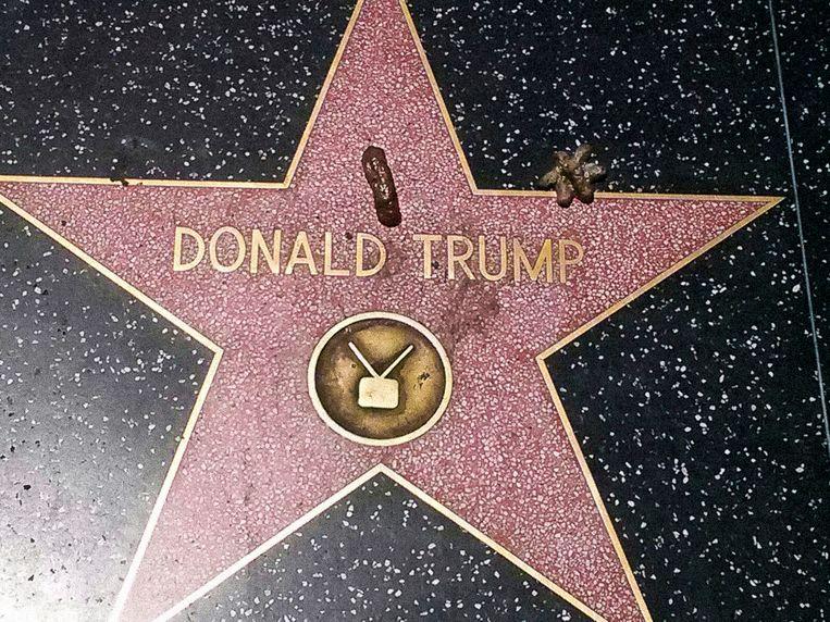 Hondenpoep op Trumps ster op de Walk of Fame. Beeld null