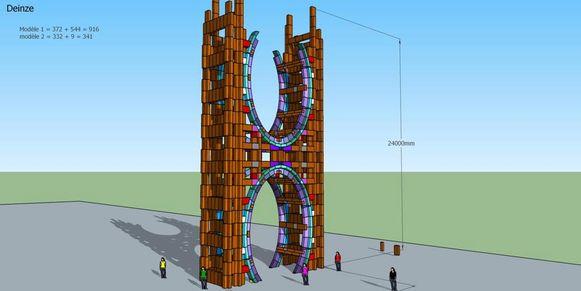 De kartonnen poort wordt gebouwd aan de ingang van het Leietheater.