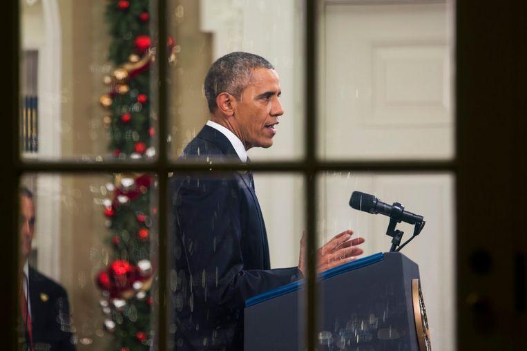 President Obama tijdens zijn toespraak vannacht. Beeld epa
