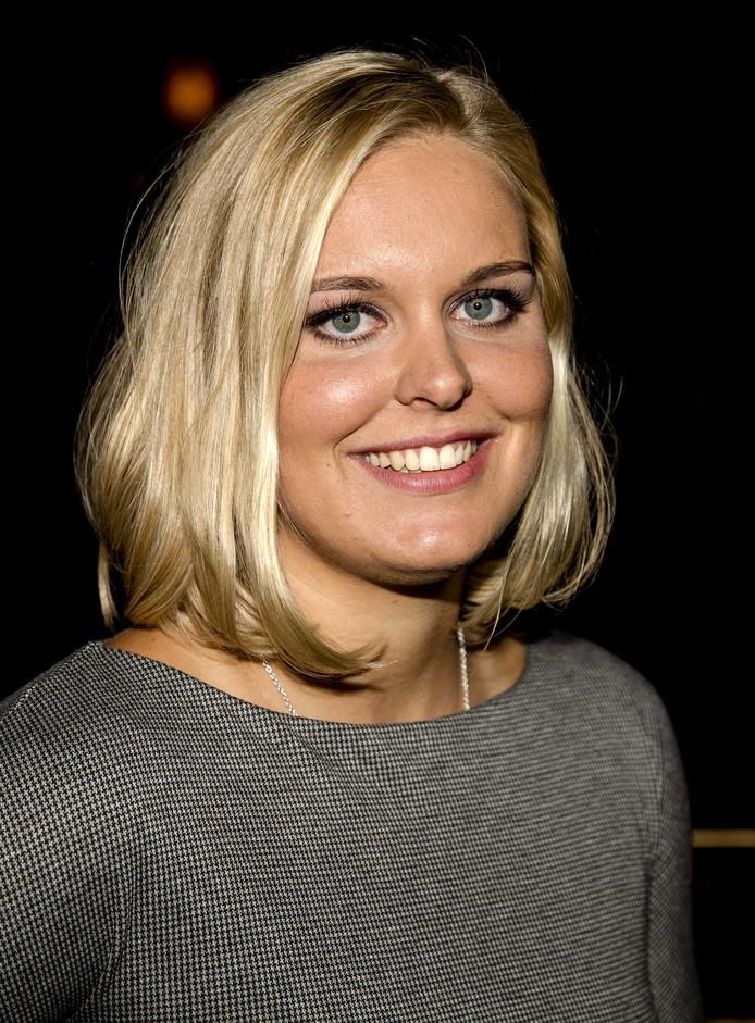 Sharon van Rouwendaal maandagavond op de rode loper tijdens de premiere van 0,03 seconde van regisseur Suzanne Raes in Pathe Tuschinski. Foto Sander Koning