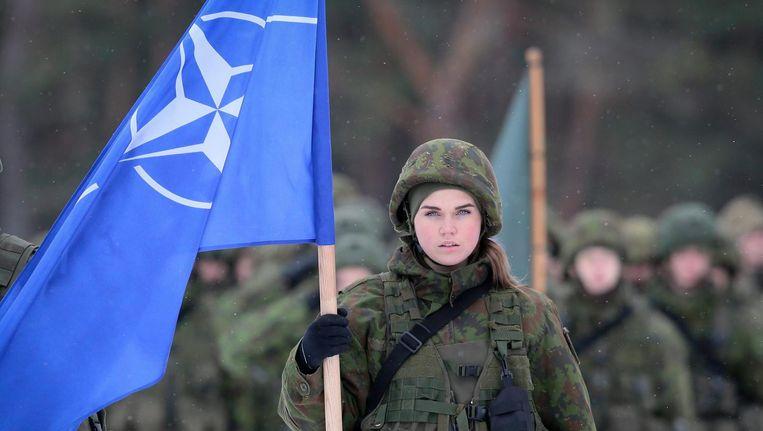 Een soldaat van de Navo-flitsmacht tijdens een welkomstceremonie in Litouwen. Beeld epa
