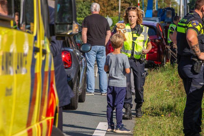 Vier kinderen kwamen bij de kettingbotsing met de schrik vrij.