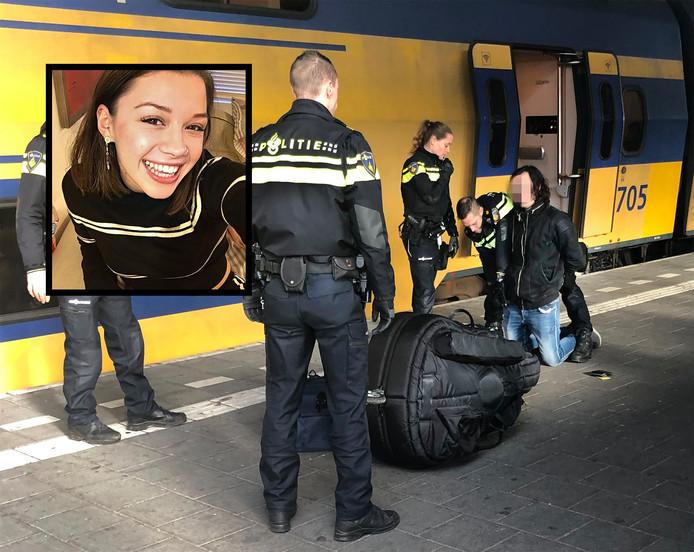 Sarah Papenheim en de arrestatie van Joël S. op het station van Eindhoven. © Erik van der Heijden
