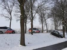 Hulpdiensten voor tweede maal naar auto tegen boom langs Hoogeweg in Escharen