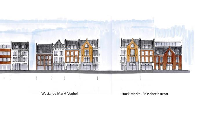 Impressie van de nieuwe gevelwand van de Markt in Veghel op de plek waar nu nog het oude postkantoor staat