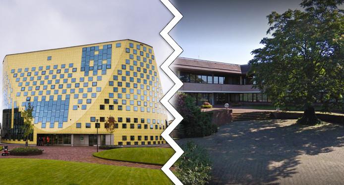 Het gemeentehuis Hardenberg en het gemeentehuis in Ommen. Beide gemeenten gaan vanaf het nieuwe jaar verder als aparte ambtelijke organisaties.
