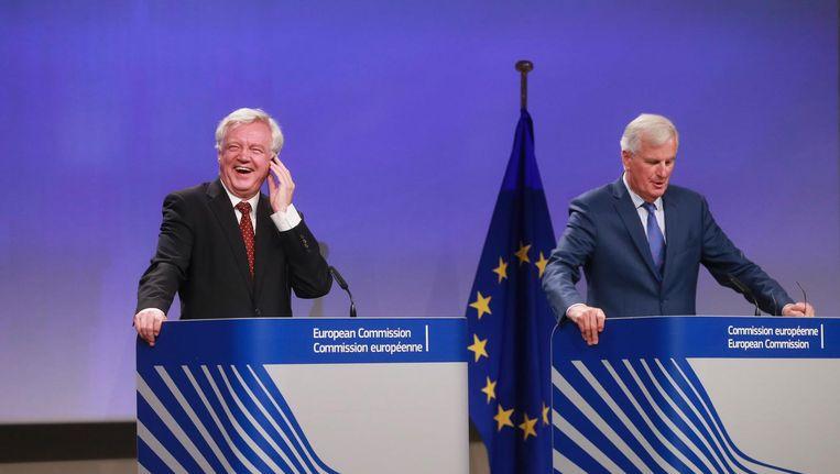 David Davis en Michel Barnier Beeld epa
