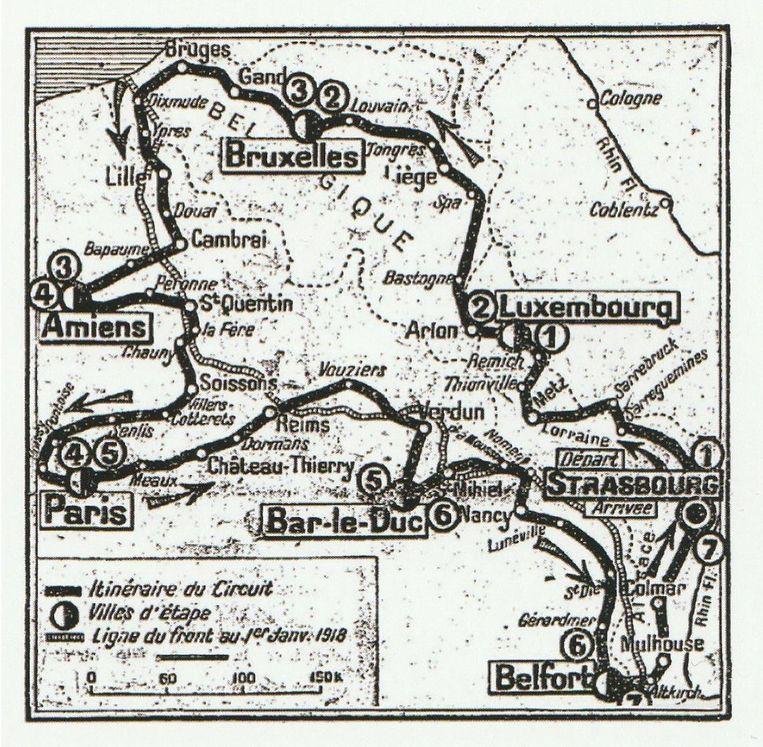 Oorspronkelijk traject van 1919 op en langsheen het Westelijke Front.