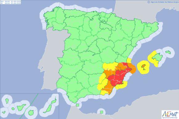 Code rood in het zuidoosten van Spanje voor overvloedige neerslag.
