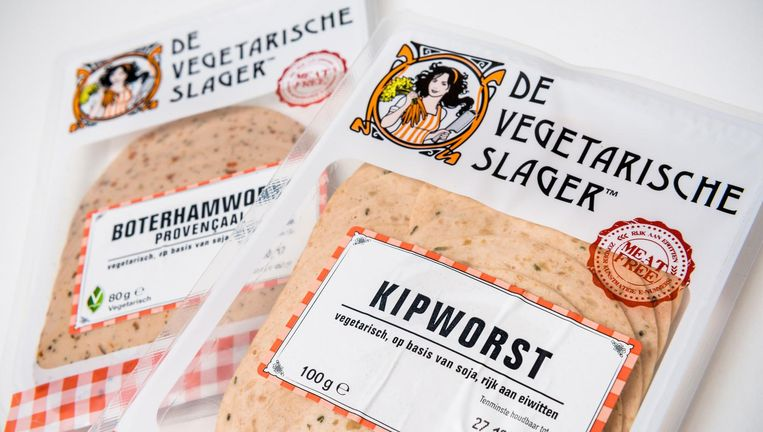 Verpakkingen van de Vegetarische Slager. Beeld anp
