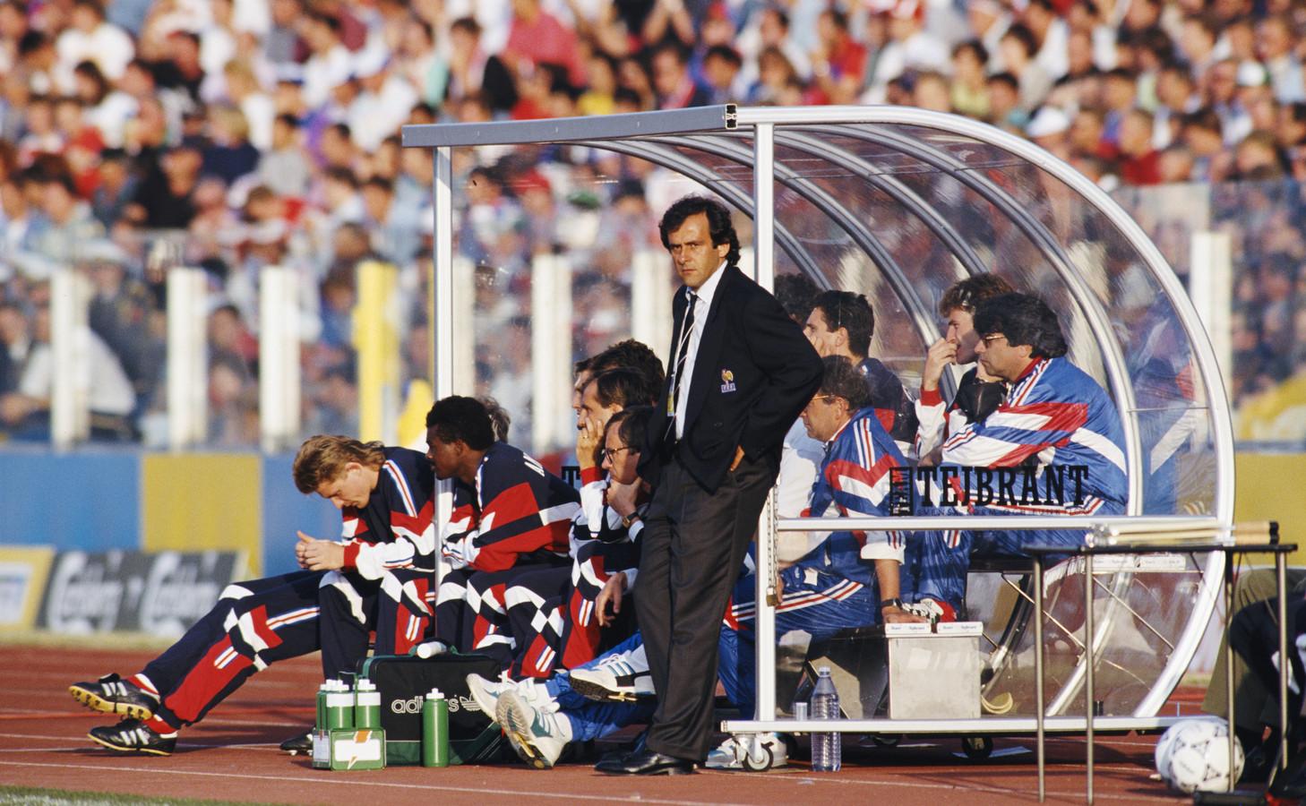 Michel Platini tijdens de EK-wedstrijd tegen Denemarken.