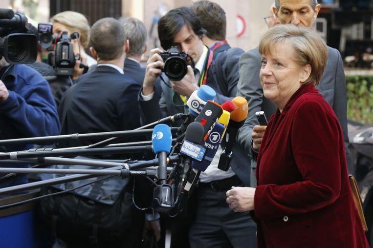 De Duitse Bondskanselier Angela Merkel vandaag bij aankomst in Brussel. Beeld reuters