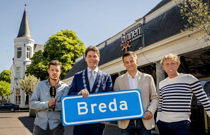 Juni 2017: bij de presentatie van RTL-programma Tour du Jour, (vlnr) Filemon Wesselink, burgemeester Paul Depla van Breda, Wilfred Genee en Michael Boogerd.