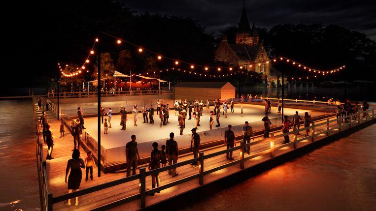 Feeërieker wordt het niet: er komt een kunstijspiste op het water in het Minnewaterpark.